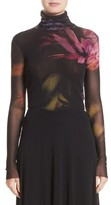 Fuzzi Women's Floral Print Tulle Turtleneck Top