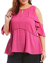 Gibson & Latimer Plus Cold-Shoulder with Flutter Sleeve Cascade Top