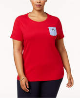 Tommy Hilfiger Plus Size Cotton Chambray-Pocket Top, Created for Macy's