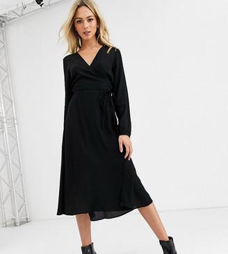 New Look long sleeve wrap midi dress in black
