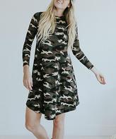 Green & Tan Camouflage Ella Dress