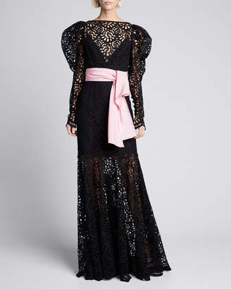 Carolina Herrera Puff-Sleeve Lace Illusion Gown