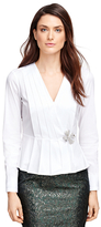 Brooks Brothers Cotton Stretch Pleated Peplum Shirt