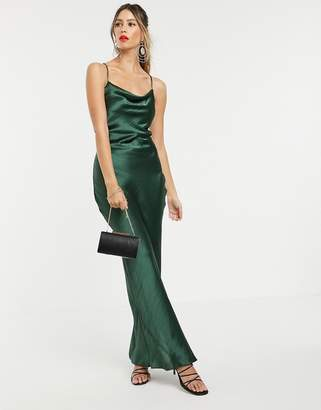 Asos Design DESIGN cami maxi slip dress in high shine in satin with lace up back-Green