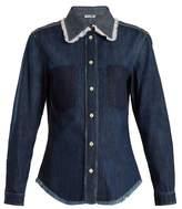 Miu Miu Contrasting-panel cotton-denim shirt