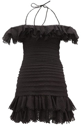 Zimmermann Super Eight Ruffled Pintucked Mini Dress - Black