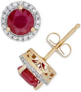 Macy's Certified Ruby (1-1/4 ct. t.w.) & Diamond (1/8 ct. t.w.) Halo Stud Earrings in 14k Gold