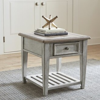 Feminine French Country End Table with Storage Feminine French Country