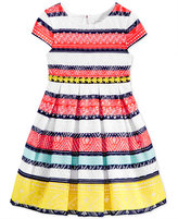 Sweet Heart Rose Striped Lace Dress, Little Girls (2-6X)