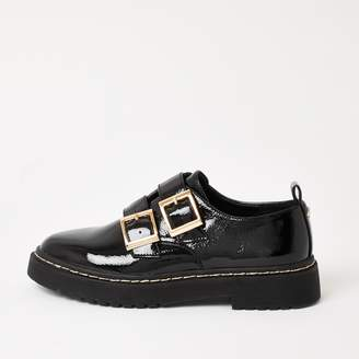River Island Womens Black patent buckle chunky loafers