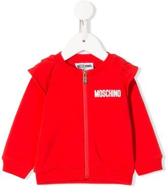 MOSCHINO BAMBINO Logo Zipped Bomber Jacket