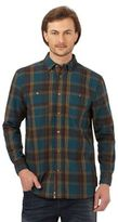 Mantaray Big And Tall Dark Turquoise Checked Long Sleeved Shirt