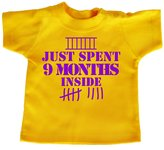 Dirty Fingers, Just spent 9 months inside, Baby Girl T-shirt, 0-6m, Navy