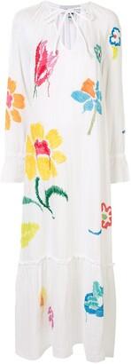 Mira Mikati Embroidered Floral Maxi Dress