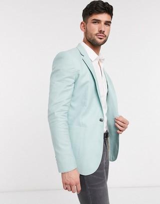 ASOS DESIGN super skinny blazer in mint green linen