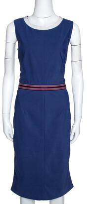 Dolce & Gabbana Blue Synthetic Grosgrain Trim Detail Midi Dress L