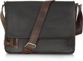 Chiarugi Black Leather Messenger Bag
