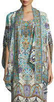 Camilla Open-Front Embellished Silk Cardigan/Cape Coverup