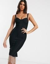 Asos Design DESIGN premium bandage tape contour bodycon midi dress with diamante trim