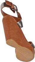 Stuart Weitzman Metalmania Wedge Sandal Natural Leather