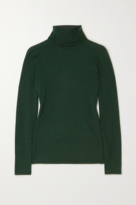 Burberry Embroidered Cashmere And Silk-blend Turtleneck Sweater - Green