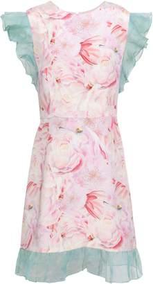 Isolda Ruffle Tulle-trimmed Floral-print Silk-crepe Mini Dress