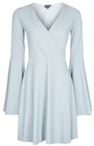 Topshop TALL Wrap Front Flute Sleeve Dress