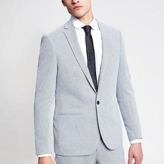 River Island Light blue skinny suit jacket