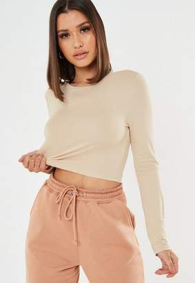 Missguided Sand Crew Neckline Long Sleeve Cropped T Shirt