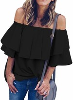 ROSKIKI Womens Off The Shoulder Short Sleeve Tops Popular Loose Summer Shirt Blouses Black XL