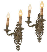 Rejuvenation Pair of Monumental Classical Revival Cast Bronze Sconces