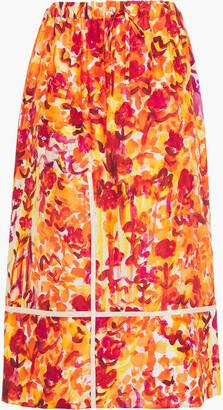 Marni Floral-print Silk-habotai Midi Skirt