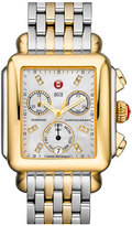 Michele Women's Deco Diamond Dial Two-Tone Watch Head, 33Mm X 35Mm