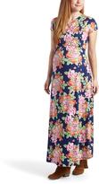 Glam Navy & Orange Floral Surplice Maternity/Nursing Maxi Dress