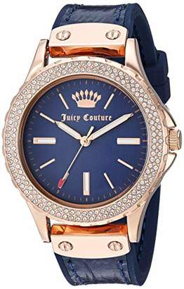 Juicy Couture Black Label Women's Swarovski Crystal Accented Rose Gold-Tone and Leather Strap Watch