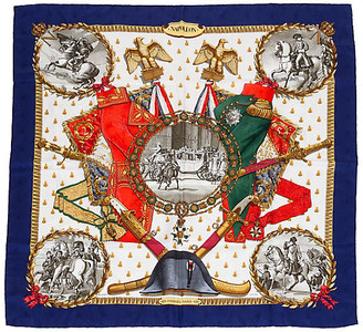 One Kings Lane Vintage Hermes Collectible Napoleon Navy Scarf - Vintage Lux