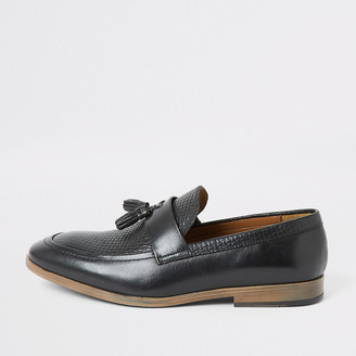 River Island Black leather textured tassel loafers
