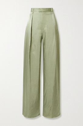 Bottega Veneta Pleated Satin-twill Wide-leg Pants - Army green