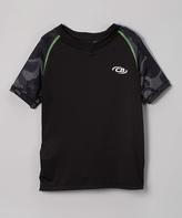 CB Sports Black & Neon Lime Camo-Sleeve Tee - Boys