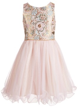 Pink & Violet Big Girls Brocade & Glitter Mesh Dress