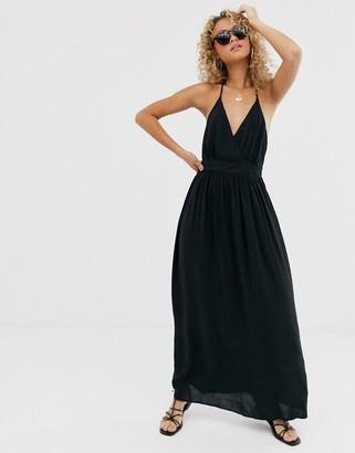 Asos Design DESIGN t-bar back halter maxi dress-Black