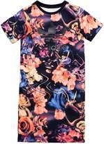 adidas Older Girls Rose Print Tee Dress