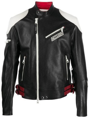 Alexander McQueen Colour Block Biker Jacket