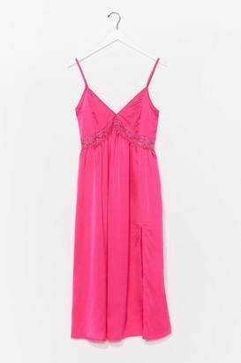 Nasty Gal Womens Dream a Little Dream Satin Midi Dress - Pink - 4, Pink