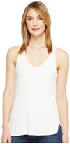 Michael Stars 2X1 Rib V-Neck Racerback Tank Top Women's Sleeveless