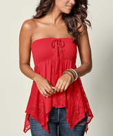 Venus Women's Blouses PPRD - Red Shirred Strapless Handkerchief Top - Women & Plus
