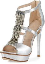 Pelle Moda Flint Beaded Metallic Leather Sandal, Silver