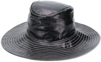 Maison Michel Lauren soft leather fedora hat