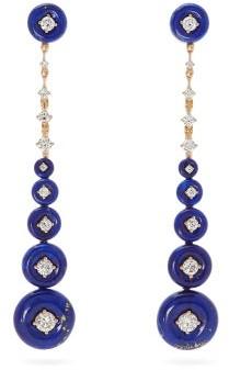Fernando Jorge Surrounding Diamond, Lapis & 18kt Gold Earrings - Womens - Blue