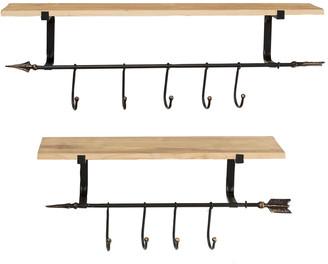 Uma Enterprises Industrial Black Metal & Natural Wood Floating Shelves